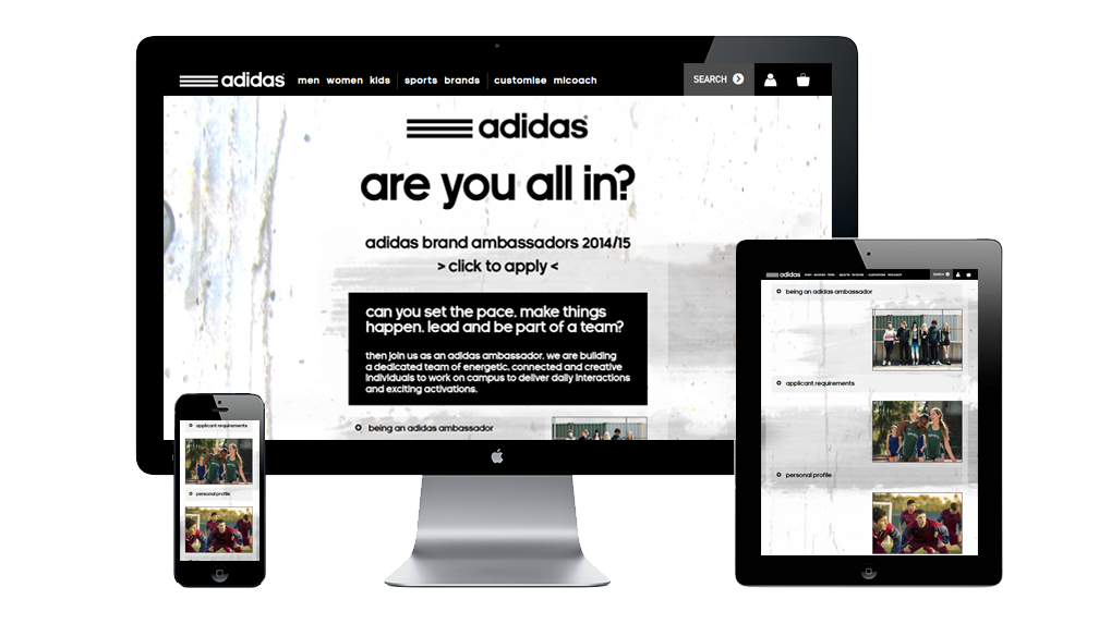 A responsive design for Adidas completed by eGravity.