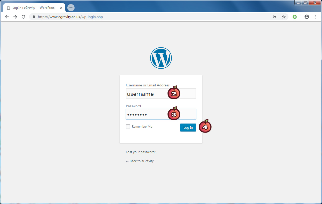 How to log in to WordPress - Steps 2 to 4